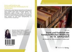 Capa do livro de Form und Funktion der handschriftlichen Widmung im 18. Jahrhundert
