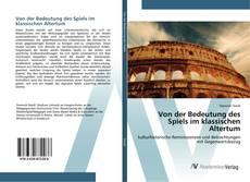 Bookcover of Von der Bedeutung des Spiels im klassischen Altertum