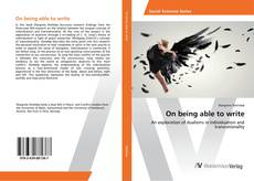 Bookcover of On being able to write