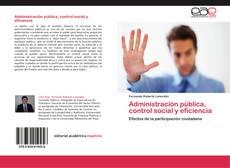 Portada del libro de Administración pública, control social y eficiencia