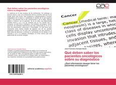 Buchcover von Qué deben saber los pacientes oncológicos sobre su diagnóstico