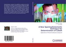 Capa do livro de A New Spectrophotomertic Technique for Determination of Cobalt