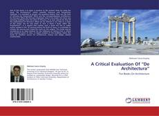 "Buchcover von A Critical Evaluation Of ""De Architectura"""
