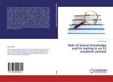 Capa do livro de Role of lexical knowledge and its testing in an L2 academic context
