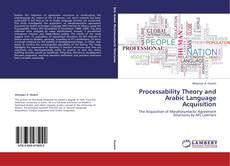 Processability Theory and Arabic Language Acquisition的封面