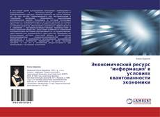"""Buchcover von Экономический ресурс """"информация"""" в условиях квантованности экономики"""