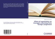 Portada del libro de Effect of repatriation on managers returning from foreign assignment