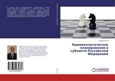 Buchcover von Криминологическое планирование в субъекте Российской Федерации