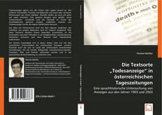"""Couverture de Die Textsorte """"Todesanzeige"""" in österreichischen Tageszeitungen"""