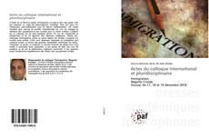 Capa do livro de Actes du colloque international et pluridisciplinaire