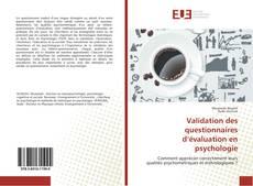 Bookcover of Validation des questionnaires d'évaluation en psychologie