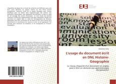 Обложка L'usage du document écrit en DNL Histoire-Géographie