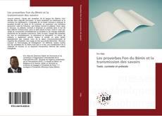 Portada del libro de Les proverbes Fon du Bénin et la transmission des savoirs
