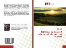 Copertina di Technique du transfert embryonnaire in vivo chez la vache