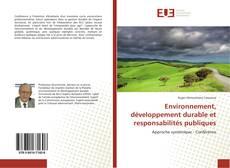 Environnement, développement durable et responsabilités publiques kitap kapağı