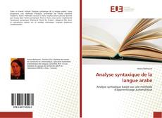 Couverture de Analyse syntaxique de la langue arabe