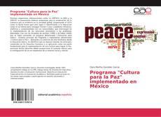 """Portada del libro de Programa """"Cultura para la Paz"""" implementado en México"""