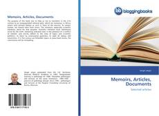 Copertina di Memoirs, Articles, Documents