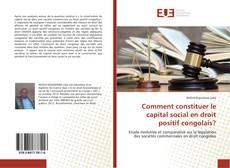 Bookcover of Comment constituer le capital social en droit positif congolais?