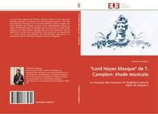 "Capa do livro de ""Lord Hayes Masque"" de T. Campion: étude musicale"