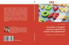 Copertina di Formation à l'anglais: comment expliciter les besoins des apprenants?