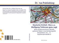 Bookcover of Deutsche Einheit. Was u.a. Wolfgang Tiefensee gazu sagt