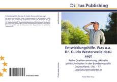 Buchcover von Entwicklungshilfe. Was u.a. Dr. Guido Westerwelle dazu sagt