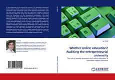 Capa do livro de Whither online education? Auditing the entrepreneurial university