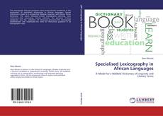 Portada del libro de Specialised Lexicography in African Languages