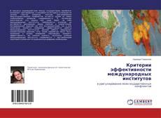 Bookcover of Критерии эффективности международных институтов