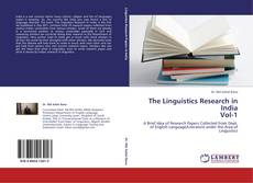 Bookcover of The Linguistics Research in India Vol-1