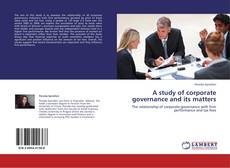 Buchcover von A study of corporate governance and its matters