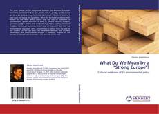 "Portada del libro de What Do We Mean by a ""Strong Europe""?"