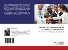 Portada del libro de Non financial motivation as a driver for perfomance