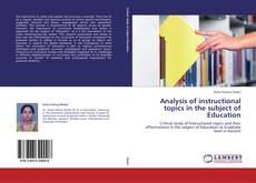 Bookcover of Analysis of instructional topics in the subject of Education