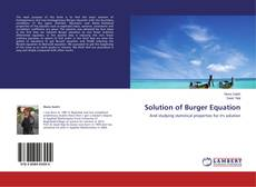 Bookcover of Solution of Burger Equation