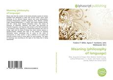 Buchcover von Meaning (philosophy of language)