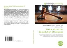 Bookcover of Article 153 of the Constitution of Malaysia