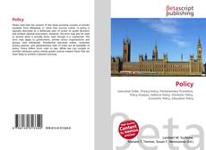Bookcover of Policy
