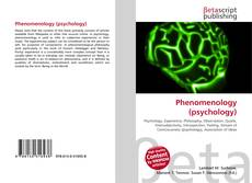Bookcover of Phenomenology (psychology)