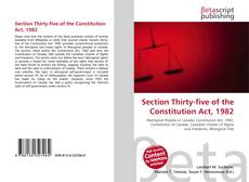 Portada del libro de Section Thirty-five of the Constitution Act, 1982