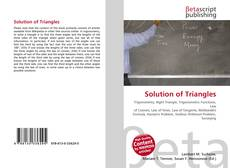Bookcover of Solution of Triangles