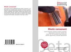 Bookcover of Rhotic consonant
