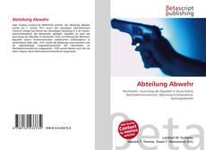 Bookcover of Abteilung Abwehr