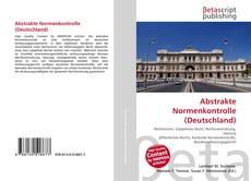 Abstrakte Normenkontrolle (Deutschland) kitap kapağı