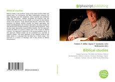 Portada del libro de Biblical studies