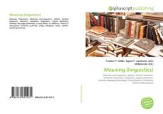 Bookcover of Meaning (linguistics)