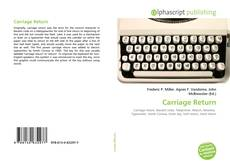 Bookcover of Carriage Return