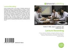 Bookcover of Lecture Recording