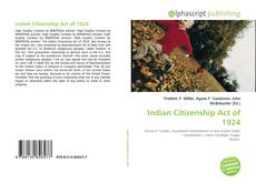 Bookcover of Indian Citizenship Act of 1924